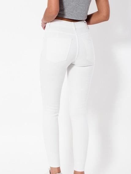 Pantalón De Jean Blanco Chupin Roturas O Liso Elastizado