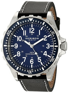 Akribos Xxiv Men.s Ak690bu Essential Swiss Quartz Blue Dial