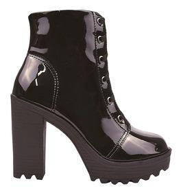 Bota Coturno Sapato Feminina Tratorada Cano Curto Salto Alto