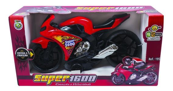 Moto Infantil Super 1600 Fricção Brinquedo Menino - Bs Toys