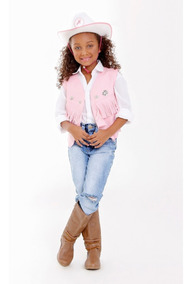Colete Country Feminino Com Chapeu E Camisa Cowboy Kit 3 Pçs