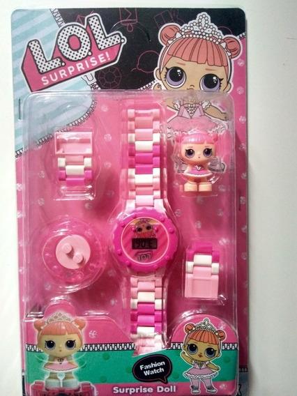 Relógio Digital Infantil Com Lego Da L.o.l + Brinde