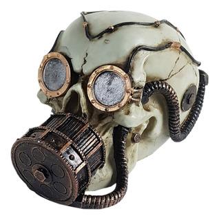 Crânio Caveira Mergulhador Mascara Oxigênio Decoração Resina