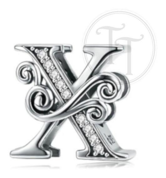 Collar Letra X Plata Esterlina 925 Zirconias Cz Fleur