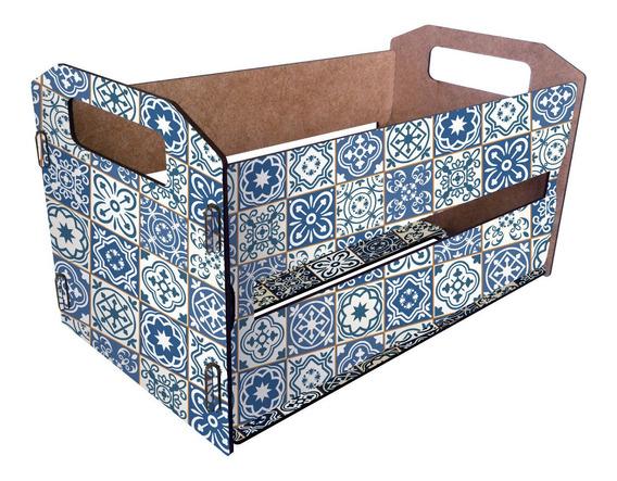 Canasto Organizador De Madera Cajón Tipo Verdulero Mosaicos