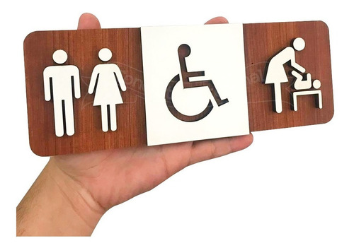 Imagem 1 de 2 de Placa Sinalização Banheiro Deficiente Fraldário Unisex