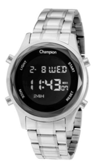 Relógio Feminino Prata Champion Digital Vidro Lapidado + Nf