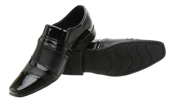 Sapato Social Masculino N°36 Ao 45 Verniz/preto