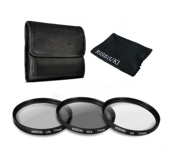 Kit De Filtros 77mm Polarizado, Nd4 E Uv Canon E Nikon