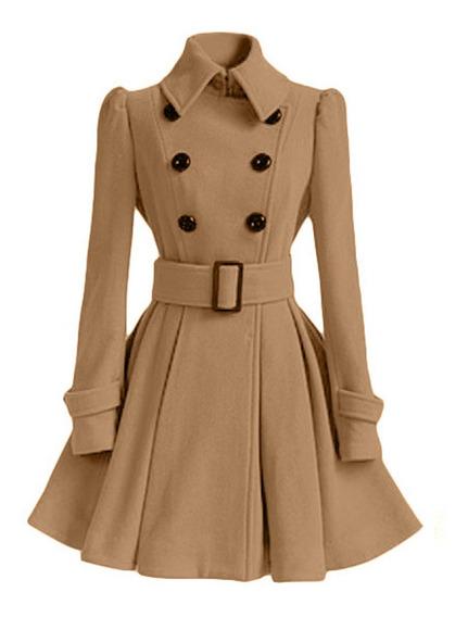 Abrigo Mujer Moda Vintage Slim Doble Botonadura