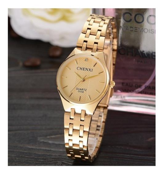 Relógio Feminino Chenxi Dourado Prova D Água Original Cx055b