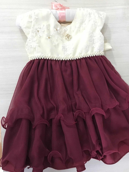 Vestido Bebe Marsala Para Festa