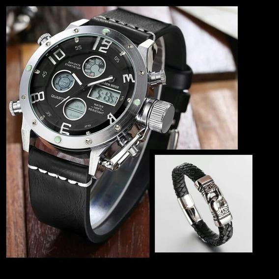 Relógio Golden Hour Militar + Pulseira De Couro Diam: 20,5cm