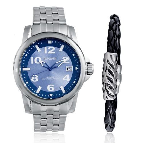 Relógio Magnum Masculino Prata Kit Pulseira Couro Ma33022o