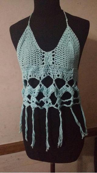 Top Crochet Rústico Aqua
