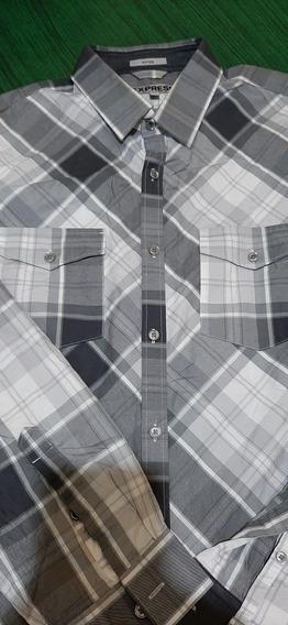 Camisa Express #98manga Larga Gris A Cuadros