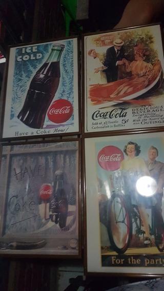 Lote De Láminas Antiguas Publicidades Coca Enmarcadas