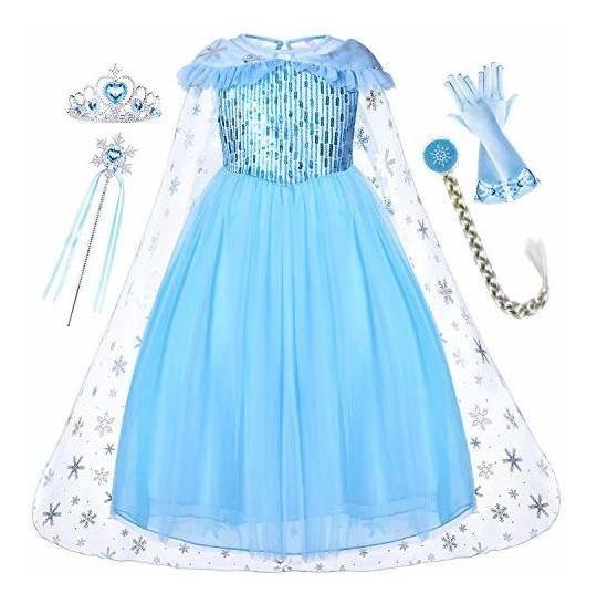 Princesa Elsa Vestido Con Abrigo Tiara Varita Guantes Para E