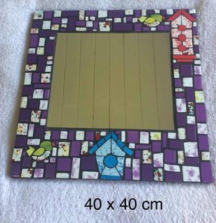 Espejo Hecho A Mano En Mosaico Azulejos