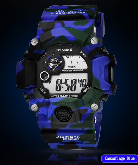 Relógio Masculino Anti Shock Militar Camuflado Synoke 9448