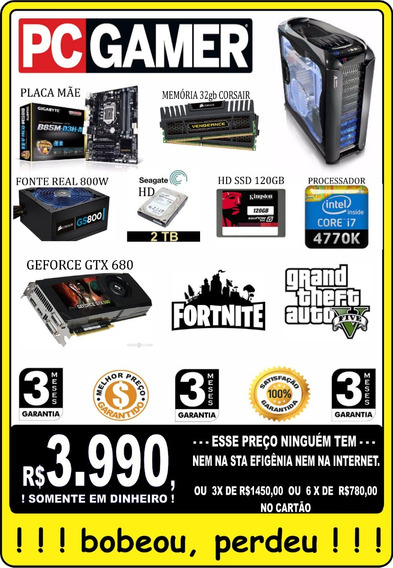 Pc Gamer Core I7 32gb 2 Tera Corsair - Impecável Só R$3990,