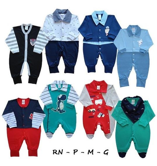 Kit Com 6 Macacão Bebê Menino Algodão Rn - P - M - G