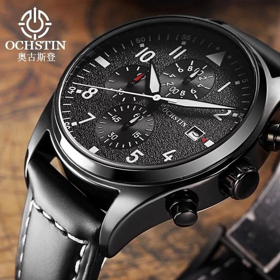 Relógio Masculino Ochstin Couro Luxo Militar + Frete Grátis