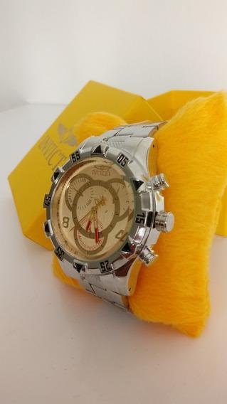 Relógio Masculino Dourado/prata Robusto Lindo + Caixa