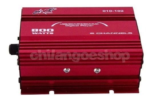Amplificador Dxr 2 Canales Mini 800w Pmpo Usb Y Sd