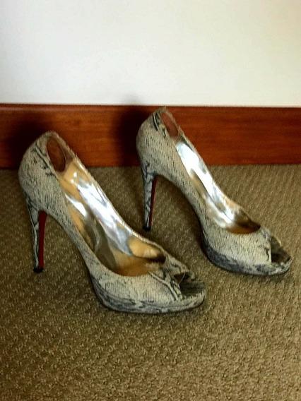 Zapatos Stiletos Paruolo En Nobuk Víbora - Divinos!!!
