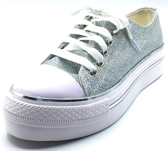 Zapatillas Mujer Urbanas Plata Brillo Estilo All Star Gliter