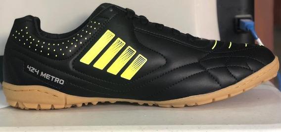 Tenis Futbol Rapido Modelo 424 Negro / Amarillo Suela Ambar