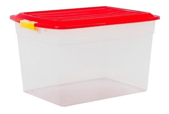 Caja Organizador Plastico Apilable Con Tapa Taper 42 Litros Colombraro