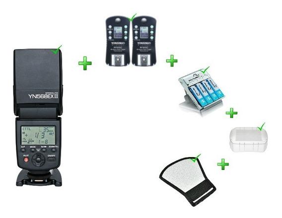 Kit Flash Yn-568ex Ii +rebatedor+difusor+rf-624+carregador
