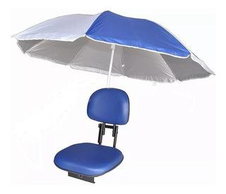 Cadeira Barco Com Suporte Guarda Sol Giratória Dobrável Azul