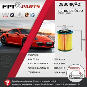 Filtro De Óleo Motor - Porsche Cayenne 2003 A 2010