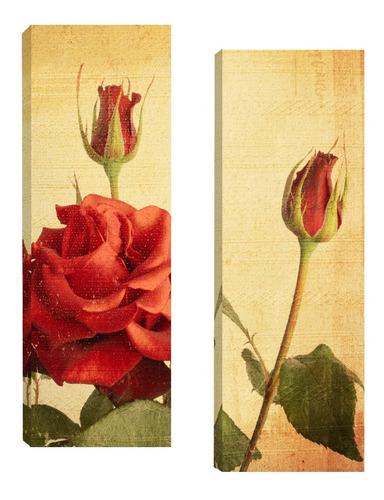Imagem 1 de 5 de Quadros Decorativos Flores Par 20x60cm Para Sala Quarto R2