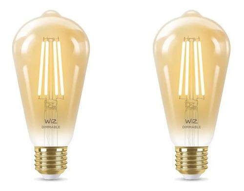 Imagen 1 de 9 de Lampara Led Wiz Wifi Filamento Edison E27 6.9w X2 Unidades