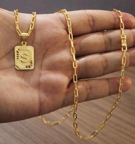 Cordão 70cm 3mm + Pingente Placa S Banhado A Ouro 18k