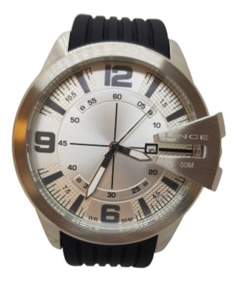 Relógio Masculino Prateado/preto Lince