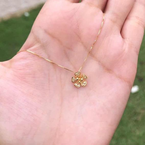 Corrente Ouro 18k + Pingente Flor Com Diamantes