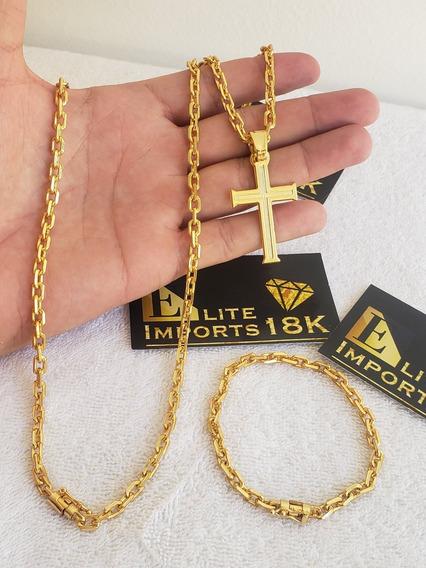 Cordão Pulseira E Pingente 5mm Cadeado Banhado A Ouro 18k