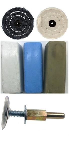 Kit Polimento 6pçs Furadeira Massas Aluminio Inox Rodas 3pol