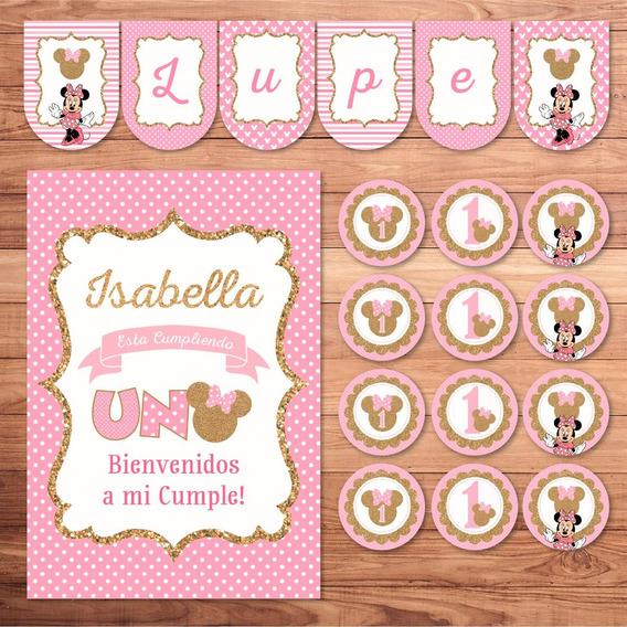 Kit Imprimible Minnie Rosa Dorado Glitter Candy Cumple