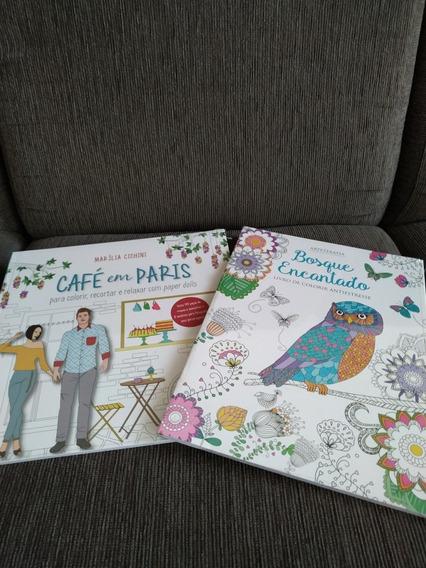 2 Livros Para Colorir: Café Em Paris E Bosque Encantado