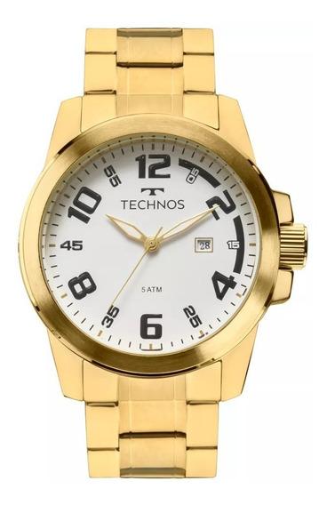 Relógio Technos Masculino Dourado Barato Prova 2115mgs/4b