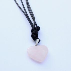 Colar Coração De Pedra Quartzo Rosa + Pulseira Pedra Da Lua