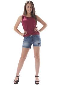 01188963f6 Shorts Jeans Dioxes Feminino Cintura Alta Destroyed Azul