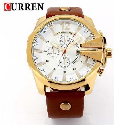 Relógio Masculino Curren Dourado Pulseira De Couro