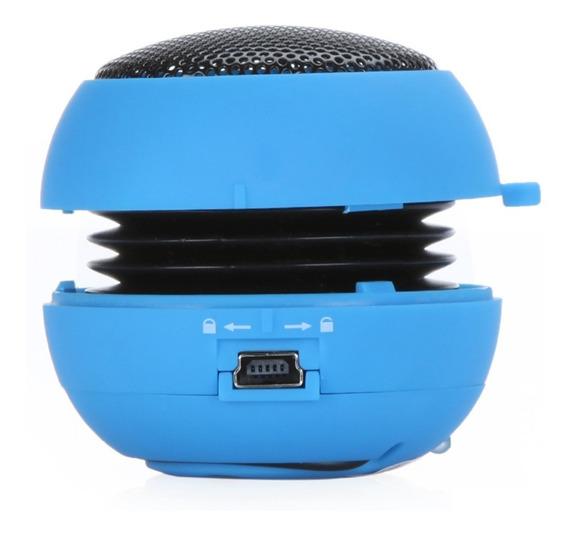Mini Caixa De Som Portátil Hamburger Speaker Cor Azul
